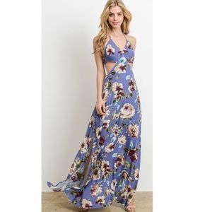 Floral Halter Neck Side Cut Out Maxi Dress